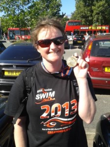 Me last year after my Great London Swim