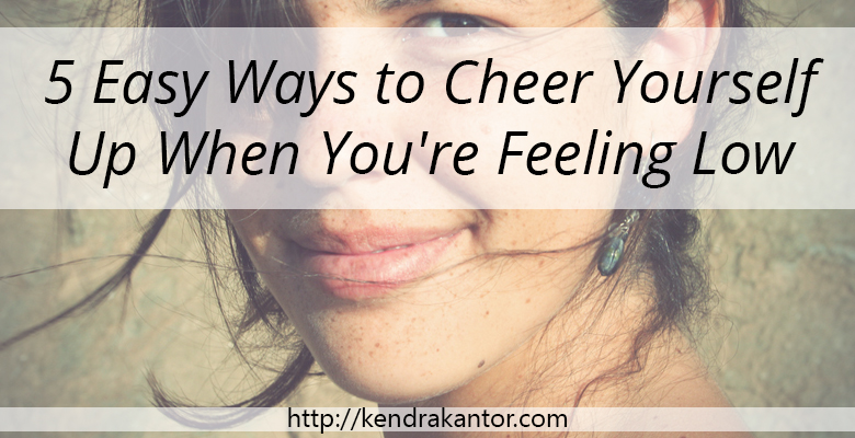 white woman gently smiling, looking into the camera Her hair is tousled.. over her face is a transparent banner with the words ''5 ways to cheer yourself up when you're feeling down'